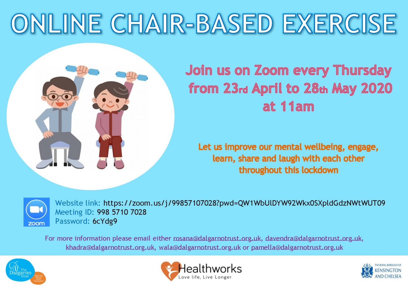 online chair-based exercise class